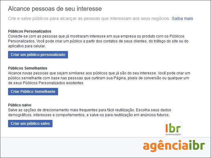 facebook ads públicos semelhantes personalizados e salvos